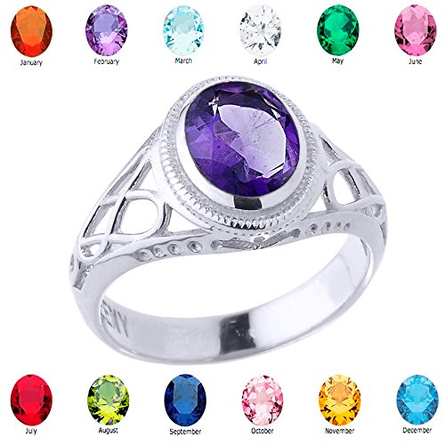 Oval Personalized Ring (Women's Fine 925 Sterling Silver Trinity Knot Personalized CZ Birthstone Celtic Ring, Size 11.75)