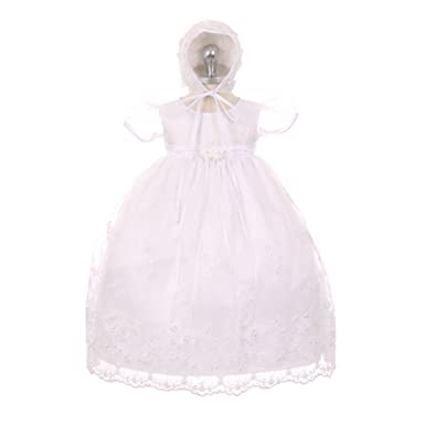 bc5b0aacc2c Kid s Dream Baby Girls White Organza Pearls Sequins Christening Dress 3M