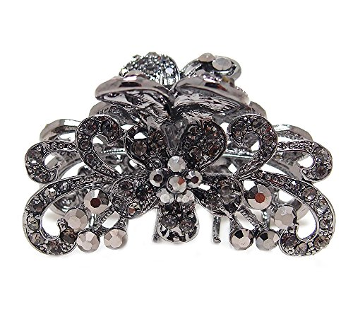 - Black Crystal Metal flower / butterfly hair claws & clips #1167