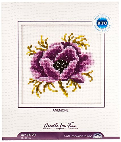 Rto H173 14 Count Counted Cross Stitch Kit  4 By 4 Inch  Anemone
