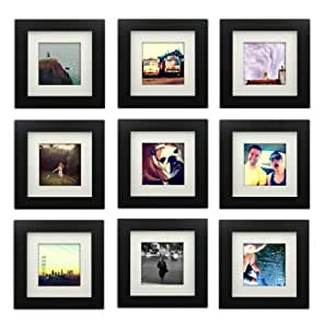 Tiny Mighty Frames 9 Set Wood Square Instagram Photo Frame 6x6 55x55 Window 4x4 Mat 35x35 Window Hanging 9 Black