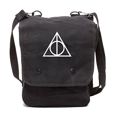 Grab A Smile Deathly Hallows Harry Potter Canvas Crossbody Travel Map Bag Case in Black & White