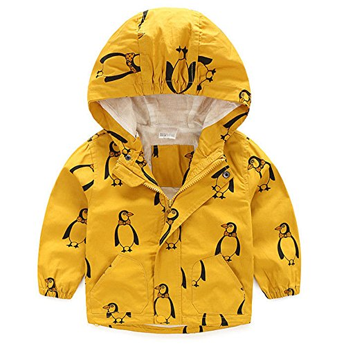imal Trench Coat Pullover Hoodie Windbreaker Jacket Raincoat Winter Outwear (6-7 Years, Yellow) (Animal Print Trench Coat)