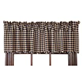 VHC Brands Classic Country Primitive Kitchen Window Curtains-Check Blue Scalloped Valance, Navy For Sale