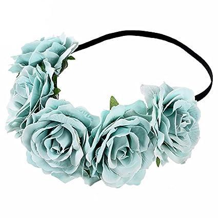 Diadema elastica corona de flores tonos azules vintage para peinados novia comuniones damas de honor madrinas