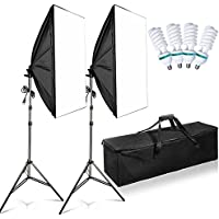 FOSITAN 20X28 Softbox Photography Lighting Kit 1600W Studio Light Photo Equipment including 2M Light Stand and 4pcs E27 85W CFL Bulb