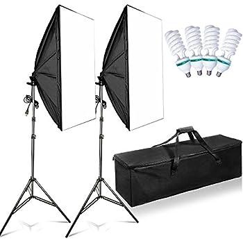 "FOSITAN 20""X28"" Softbox Photography Lighting Kit 1600W Studio Light Photo Equipment including 2M Light Stand and 4pcs E27 85W CFL Bulb"