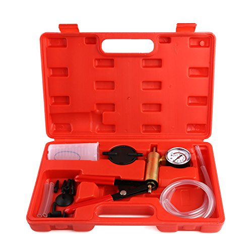 FEMOR Hand Held Brake Bleeder & Vacuum Pump Test Tuner Kit Tools with Case, 2 in 1 Automotive Tools with Adapters for Vehicle ()