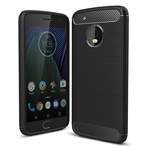 Moto G5 Case, Landee Soft TPU Shock Absorption Design Silicone Case Cover for Motorola Moto G5 / Moto G (5th Generation)(5.0), Black