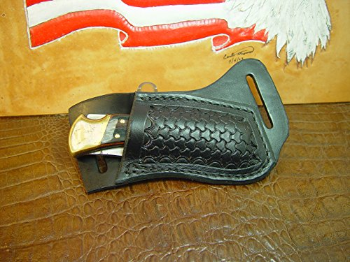 - Custom right hand cross draw knife sheath for a buck 110 knife. The sheath is made out of buffalo hide leather hand tooled with a basket weave pattern.