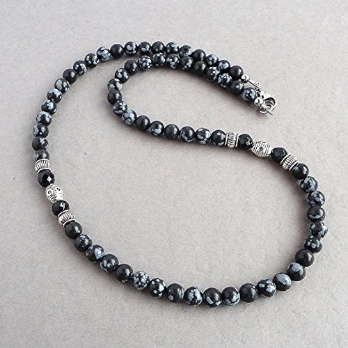 (Mens Necklace 19 inch, Beaded Snowflake Obsidian and Black Onyx 6mm Gemstone - Handcrafted in USA)