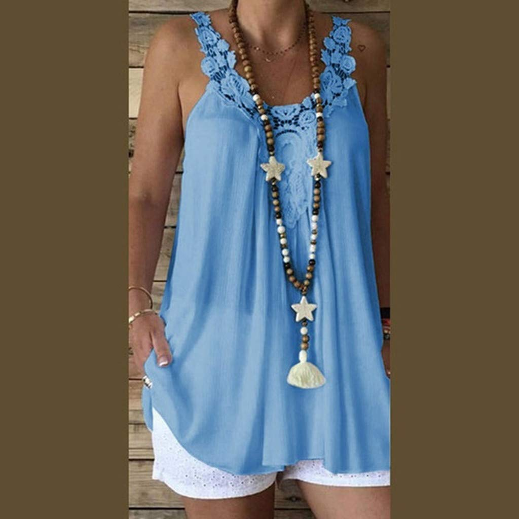 Women Sleeveless Tank Tops Casual Lace Splice Comfy Loose Solid Top Vest Blouse (L, Blue)