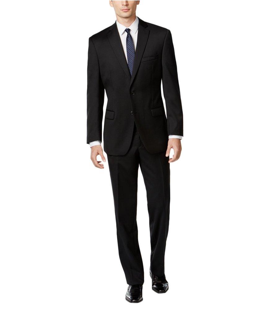 Calvin Klein Mens Wool Slim Fit Two-Button Suit Black 38R by Calvin Klein