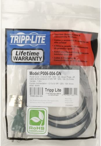 Tripp Lite P006-004 4 Feet NEMA 5-15P to IEC-320-C13 18AWG Power Cord