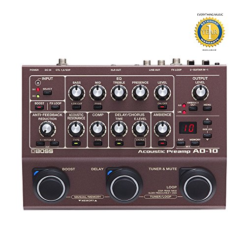 Boss AD-10 Acoustic Preamp with 1 Year EverythingMusic Extended Warranty Free by BOSS