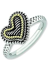 2.5mm Sterling Silver and 14k Stackable Expressions Antiqued Heart Ring - Ring Size Options: 10 5 6 7 8 9