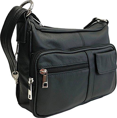 Genuine Leather Locking Concealment Purse CCW Concealed Carry Gun Bag Handbag, Ambidextrous, Black