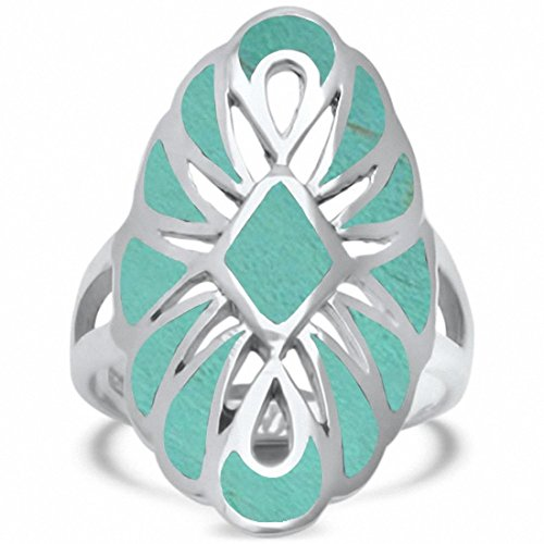 Blue Apple Co. Filigree Design Ring Simulated Turquoise 925 Sterling Silver, Size-9