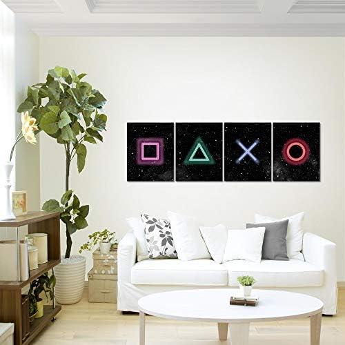 Bilder Spielkonsole Gamer Wandbild 160 x 50 cm Vlies - Leinwand Bild XXL Format Wandbilder Wohnzimmer Wohnung Deko Kunstdrucke Bunt 4 Teilig - MADE IN GERMANY - Fertig zum Aufhängen 023846b 2