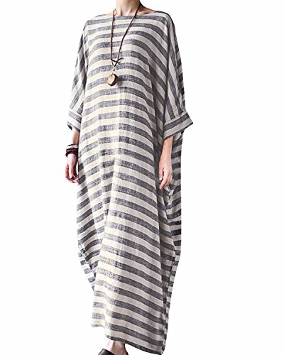 Stripe Kaftan (Bohistyle Women Summer Plus Size Striped Batwing Linen Cotton Loose Kaftan Casual Dress Stripe 3XL)