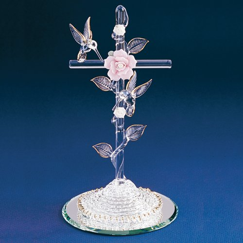 - Glass Baron ~ Cross With Pink Rose And Hummingbirds
