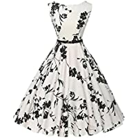 Goodtrade8 Women Floral Ruffle Sleeveless Evening Party Prom Formal Swing Dress Plus Size