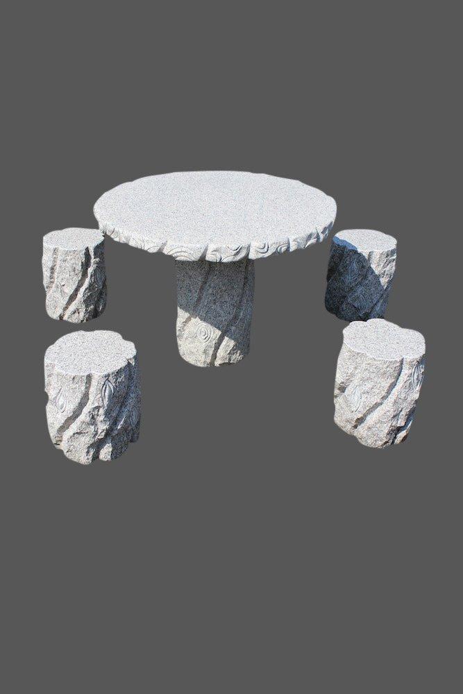 Asiatischer Gartentisch mit Sitz Hocker aus Granit Stein Garten Garnitur aus Granitstein (Tisch + 4 Hocker)