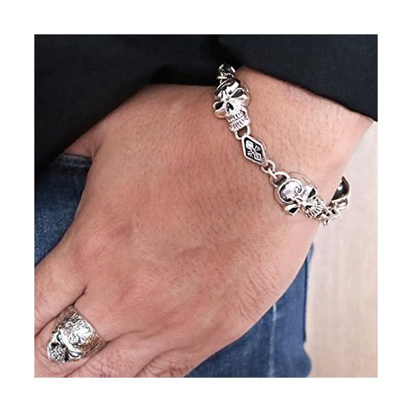 Biker-Bracelet-Handcraft-925-Sterling-Silver-Gothic-Skull-Bracelet-for-Men-Cross-Link-Wrist-Length-85-inches