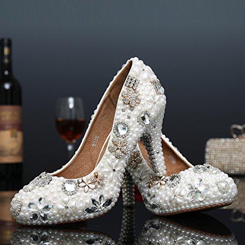 BoShi Womens Bridal Crystal Evening Party Gold Rhinestones Wedding Pumps