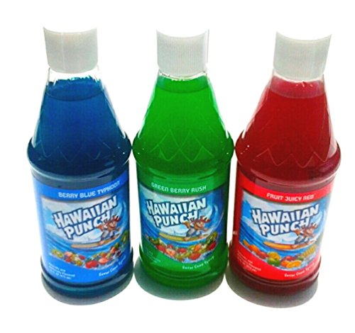 Hawaiian Punch Snow Cone Syrup 16oz Bottle (Pack of 3) Three Flavor (Green Berry Rush, Berry Blue Typhoon & Fruit Juicy Red