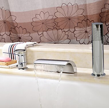 Chrome Roman Tub Set (Bathtub Faucet - Contemporary - Handshower Included / Waterfall Chrome)HiMyLEN