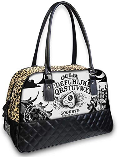 Leopard Quilted Tote - Liquorbrand Ouija Board Black Overnight Weekender Carry-On Travel Tote Bag