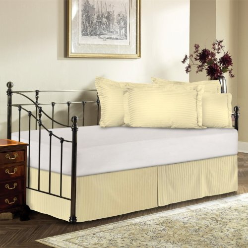 Harmony Lane Day Bed Tailored Bedskirt With 14'' Drop , Bone Sateen stripe Bedskirt ( Available in 12 - Bedskirt Harmony