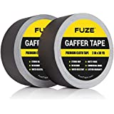New: Black Gaffers Tape - 2 Pack - 30 Yards & 2 inch Wide - 2 roll Bulk Set Refills case. Multi-Pack Waterproof Gaffer Matte Cloth Fabric for pro Photography, Filming Backdrop, Production Equipment