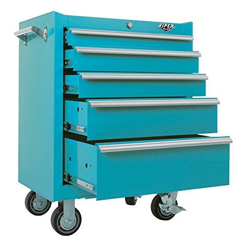 Viper Tool Storage V2605TLR 26-Inch 5-Drawer 18G Steel Rolling Cabinet, Teal