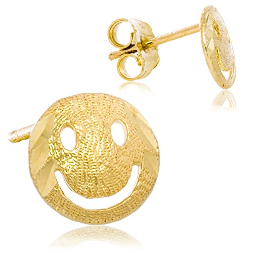 Solid 14K Yellow Gold Happy Face Emoji Earrings   Elegant Engraved Design for Men and Women   7mm Diameter   - Earrings Face Smiley Solid