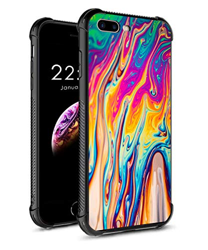 iPhone 8 Plus Case iPhone 7 Plus Case, Tempered Glass Phone Cover Marble Pattern Design for Girls Women TPU Frame Shock Absorption Bumper Protective Case for iPhone 7/8 Plus Neon Liquid Color