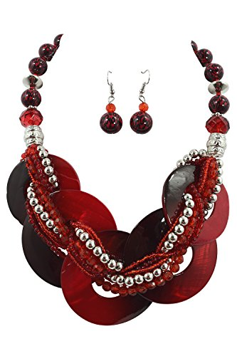 - Chunky Layered Round Capiz Sea Shell with Braided Beads Statement Necklace (Red)