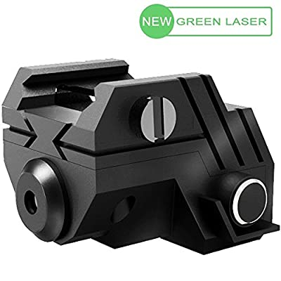 USA LASPUR Mini Sub Compact Tactical Rail Mount Low Profile Green Dot Laser Sight with Build-in Rechargeable Battery for Pistol Rifle Handgun Gun, Black
