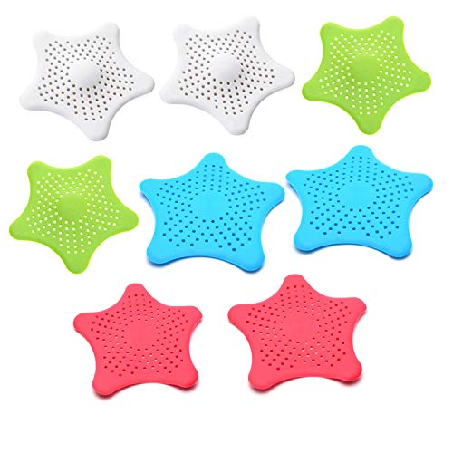 Antrader 8Pcs Silicone Sink Drain Filter Bathtub Starfish Hair Catcher Stopper Trapper Drain Hole Filter Strainer with No Slip Suction Cups for Bathroom Kitchen Toliet by Antrader