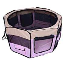 """PawHut 49.2"""" Large Portable Exercise Pet Playpen Folding Dog Kennel Crate with Carry Bag Pink"""