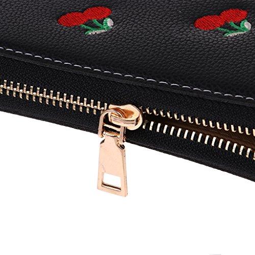Noir PU MagiDeal Sac Portefeuille Femme en Vert Pochette Bracelet Cuir Porte Monnaie d'Embrayage qn76Fp