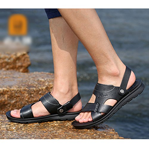 De Zapatillas Baño Ocasionales Black De Summer Para Classic Sandalias Playa Respirables PU Zapatillas Hombre Peep Zapatos Toe Antideslizantes dF7gnw