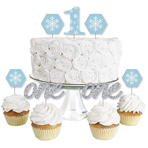ONEderland - Dessert Cupcake Toppers - Holiday Snowflake Winter Wonderland Birthday Party Clear Treat Picks - Set of 24 ()