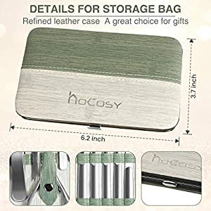 Nail Clippers Kit HOCOSY Manicure Set 10 in 1 Nail Grooming Kit for Men & Women, Stainless Steel Portable Pedicure Kit, not hurting skin, Professional Toenail Clippers with Travel Case, Green (Color: green)