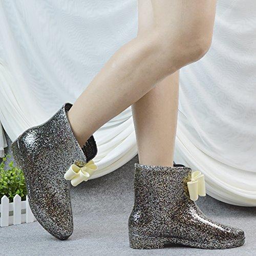 Women's Waterproof Rubber Jelly Anti-Slip Rain Boot Buckle Ankle High Rain Shoes B01J7EYUGY 8 B(M) US|Black Bowknot