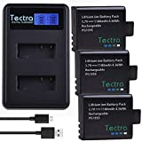 Textra 3 x PG1050 Action Camera Battery and LCD Display Dual Charger for 4k Underwater Camera AKASO EK7000, APEMAN, EKEN, Campark, SOOCOO, DBPOWER, Crosstour, FITFORT, DROGRACE