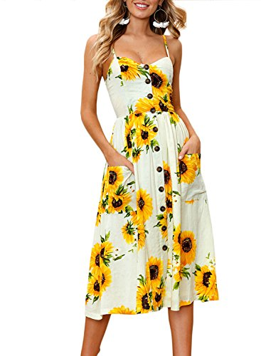 ZESICA Women's Summer Spaghetti Strap Floral Print Button Down Swing Midi Dress With Pockets