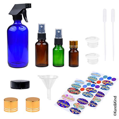 Refillable Essential Oil Bottle Kit: 1 Trigger Sprayer (480ml), 2 Fine Mist Sprayers (30ml + 15ml), 1 Bottle (10ml), 2 Orifice Reducer Caps, 4 Sealing Caps, 78 Labels and 3 Filling Tools (Mini 1 Cologne Oz)