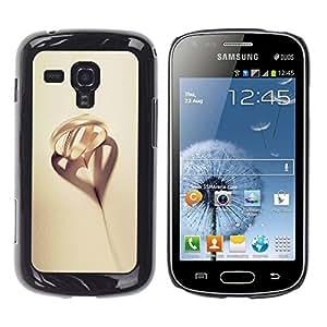 TopCaseStore / la caja del caucho duro de la cubierta de protección de la piel - Romantic Beige Gold Heart Love - Samsung Galaxy S Duos S7562